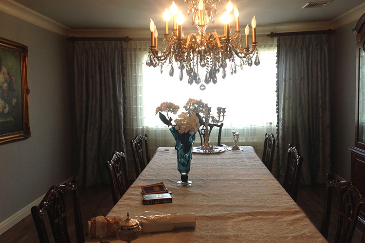 Custom Draperies in dining room
