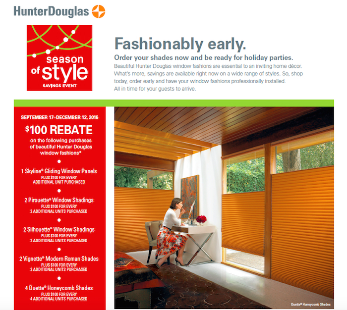 Hunter Douglas Shades Season of Style Savings Event
