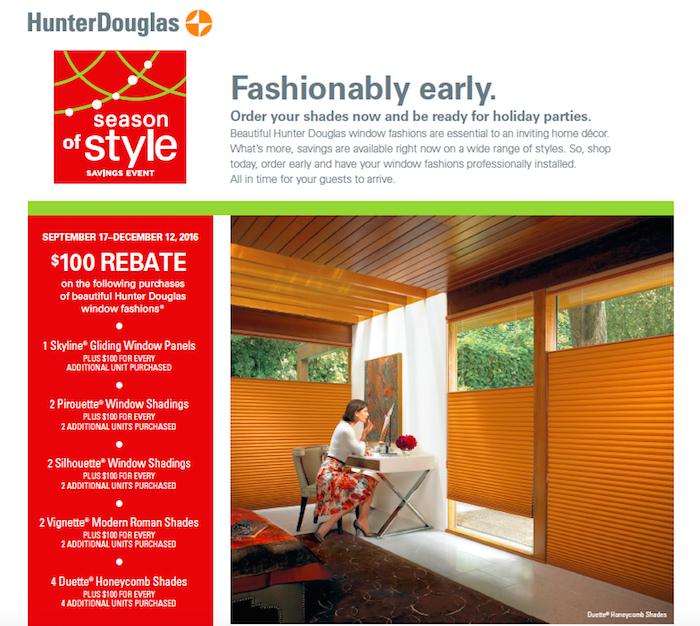 Hunter Douglas Shades Season of Style Savings Event