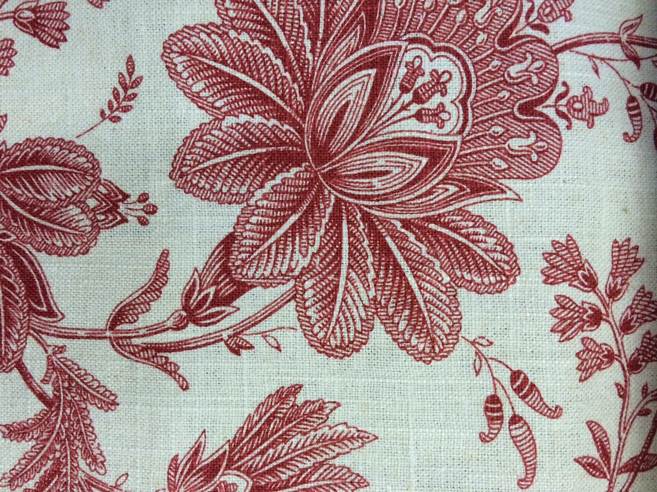 Red Flower Fabric Design at TWG Fabrics